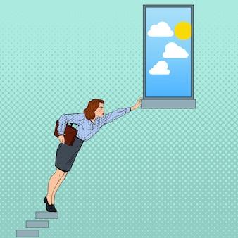 Pop-art biznes kobieta ciężko próbuje osiągnąć cel.