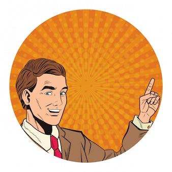 Pop-art biznesmen kreskówka okrągła ikona