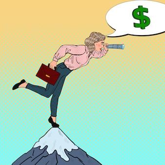 Pop art business woman z spyglass na szczycie góry szuka pieniędzy. strategia biznesowa.