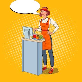 Pop art cashier przyjmuje zamówienie