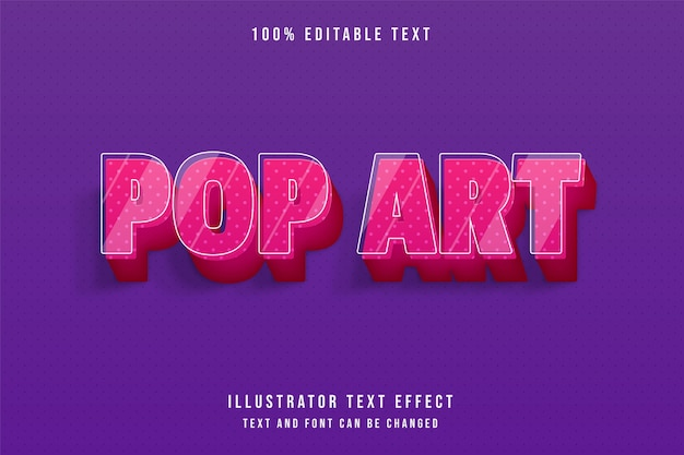 Pop-art, edytowalny efekt tekstowy 3d nowoczesny różowy gradacja ładny styl tekstu