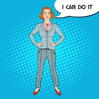 Pop art elegancka pewna kobieta sukcesu w biznesie.