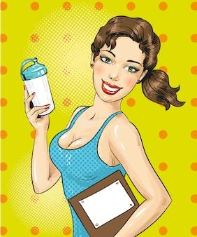 Pop-art ilustracja fitness dziewczyna z butelki sportowe