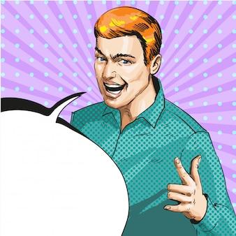Pop-art ilustracja mężczyzna pokazujący znak dłoni ily