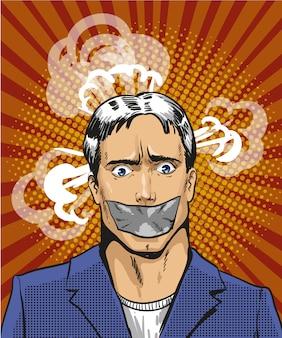 Pop-art ilustracja młodego człowieka z taśmą usta