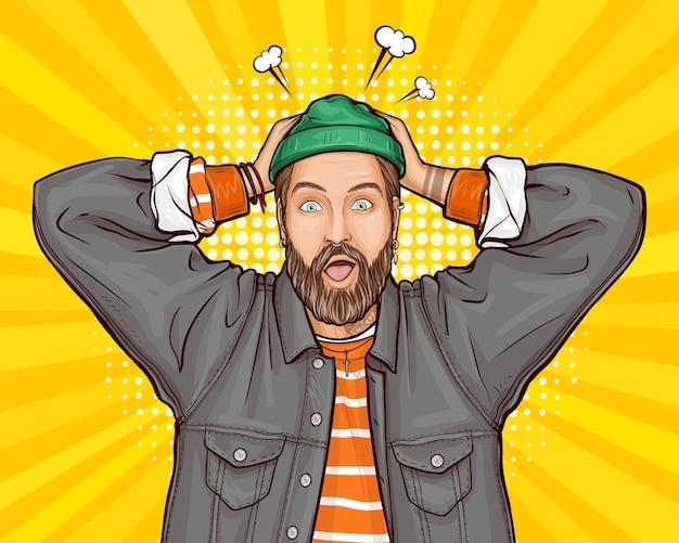Pop-art ilustracja zdziwionego, zszokowanego lub zakłopotanego hipster mężczyzny trzymającego ręce na głowie, szeroko otwierającego usta, oczy.