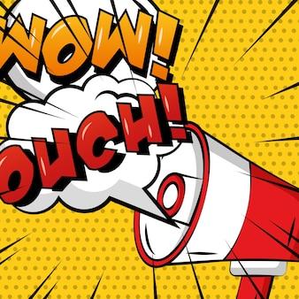 Pop art komiks megafon dymek ouch wow kropki polka