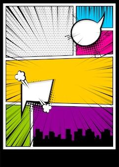 Pop art komiksy książka o texmagazine szablon okładki cartoon śmieszne vintage strip komiks superbohatera tekst
