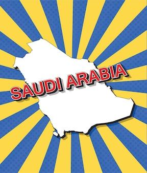 Pop-art mapa arabii saudyjskiej