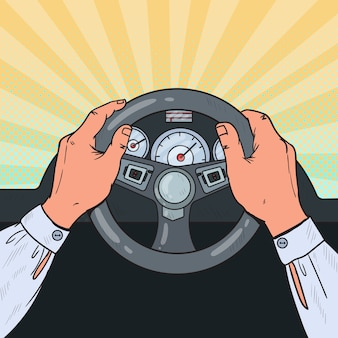 Pop art mężczyzna ręce kierownicy samochodu