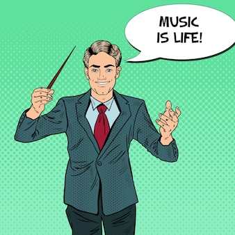 Pop art music conductor man with a baton.