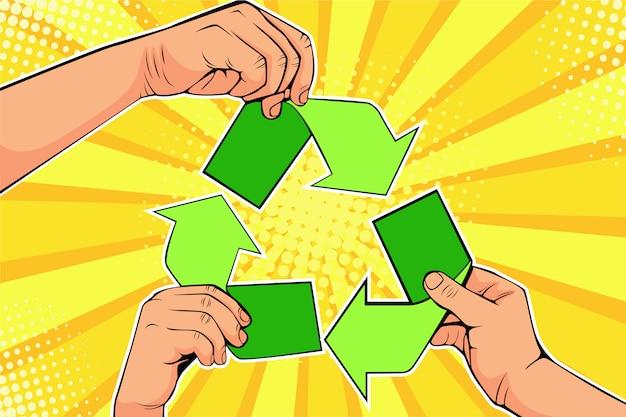 Pop art papier recyklingu znak w ręce. uratuj światową koncepcję ekologii