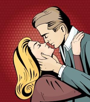 Pop art piękna kobieta i mężczyzna całuje.