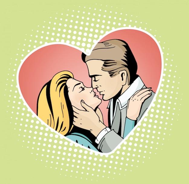 Pop art piękna kobieta i mężczyzna całuje