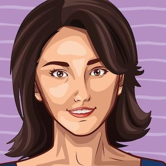 Pop-art piękna kobieta kreskówka twarz