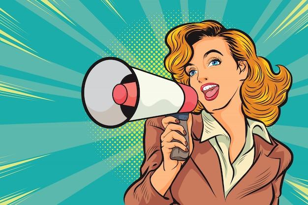 Pop art piękna kobieta z megafonem