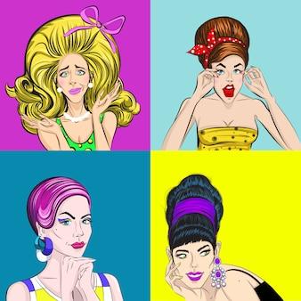 Pop art piękne kobiety kwadratowa koncepcja