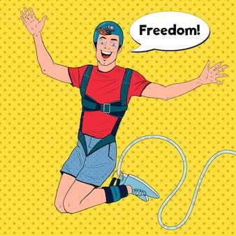 Pop art podekscytowany mężczyzna skaczący na bungee