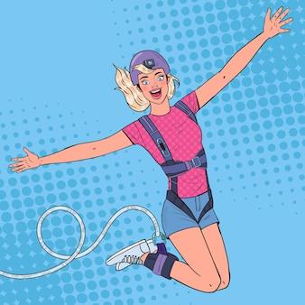 Pop art podekscytowany piękna kobieta skacząca na bungee