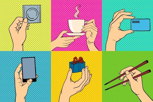 Pop-art ręce wektor zestaw ilustracji