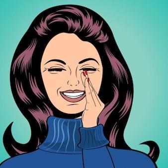 Pop art słodkie retro kobieta w stylu komiksów śmiechu