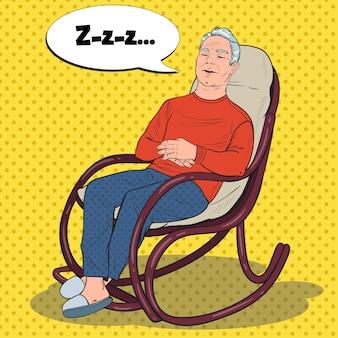 Pop art starszy mężczyzna śpi w fotelu