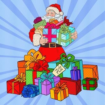 Pop art święty mikołaj z prezentami świątecznymi.