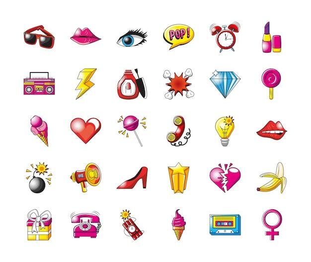 Pop-art szczegółowy styl 30 zestaw ikon projekt komiksu wyrażenia retro