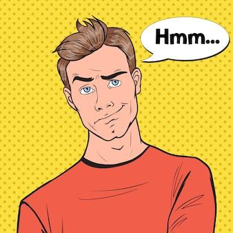Pop art zaniepokojony portret mężczyzny