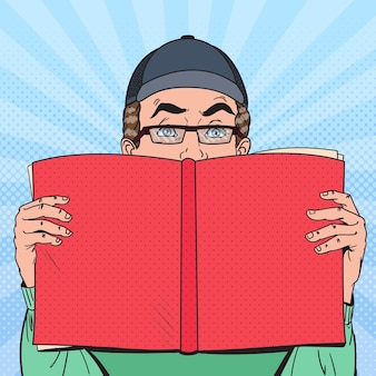 Pop art zaskoczony człowiek czytanie książki
