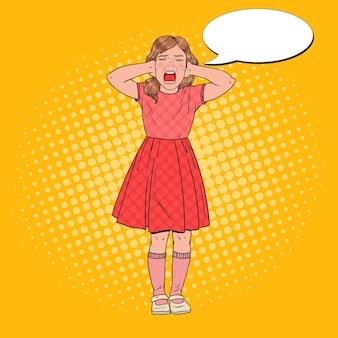Pop art zły mała dziewczynka krzyczy