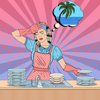 Pop art znudzona kobieta zmywa naczynia i marzy o tropikalnych wakacjach