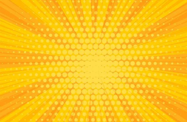 Pop-art żółte komiksy książki promieniowe tło