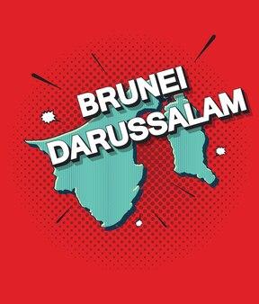 Pop-artowa mapa brunei darussalam