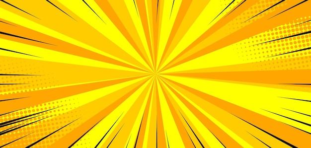 Pop-artowe komiksowe żółte tło wybuchowe