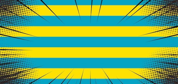 Pop-artowe tło z żółtą i niebieską linią
