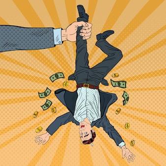 Pop-artu, biznesmen tracąc swoje ostatnie pieniądze. pojęcie upadłości. ilustracja