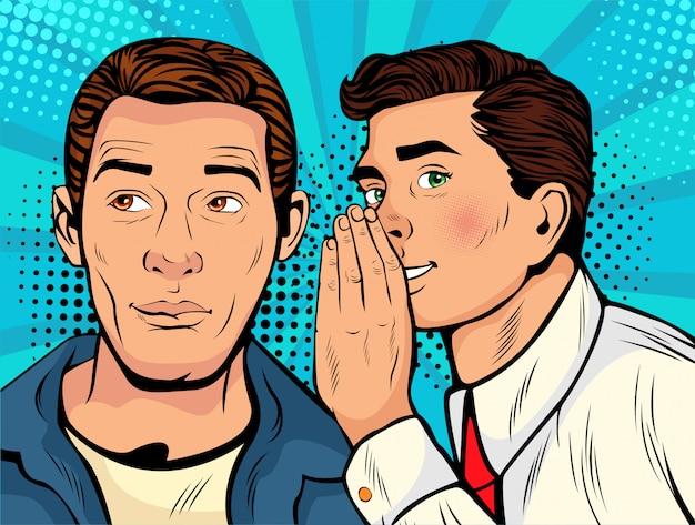 Pop artu człowiek szepcząc plotki lub sekret do swojego przyjaciela