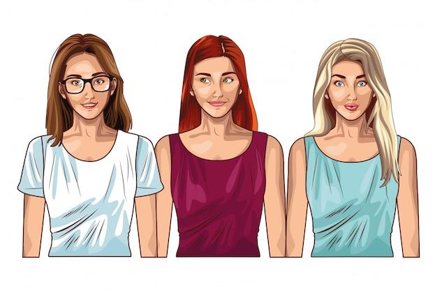 Pop-artu kobiety modelki uśmiechający się kreskówka
