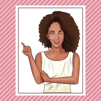 Pop-artu piękna kobieta uśmiechnięta kreskówka