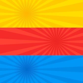 Pop-artu przerywana styl retro żółty czerwony i niebieski zestaw bannerów. kolekcja ulotek stary szablon komiksu w kropki. ilustracja