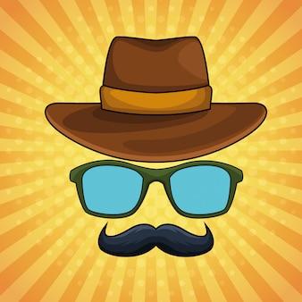 Pop-artu, vintage okulary męskie kapelusz i wąsy kreskówki