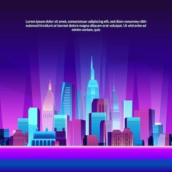 Pop modne miasto budowanie drapaczy chmur ilustracja