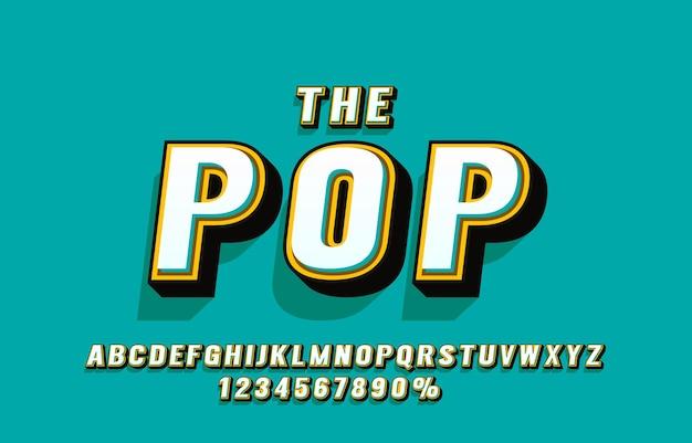 Pop retro czcionka i zestaw liczb
