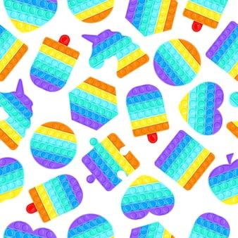 Pop to wzór. antystresowy pop to silikonowe bąbelki zabawki tekstury, ilustracja tło wektor tęcza sensoryczna. silikonowe tło zabawek antystresowych