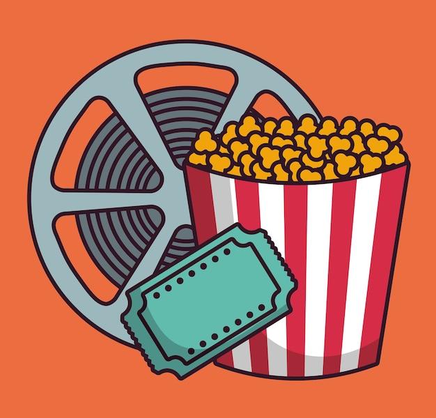 Pop wiadro kukurydzy i ikony związane z kinem