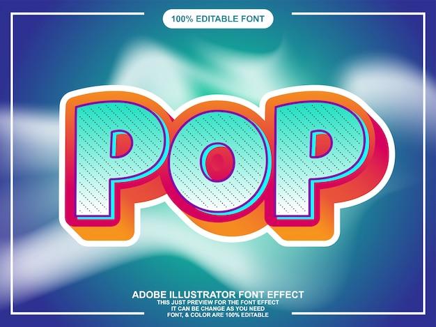Pop zaokrąglony pogrubiony edytowalny efekt czcionki tekstowej