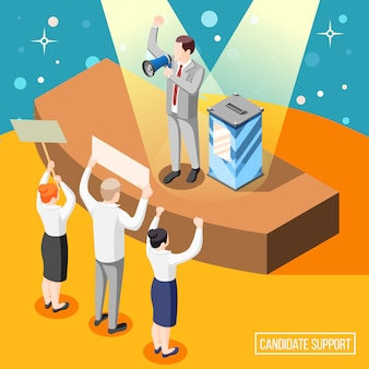 Poparcie kandydata politycznego podczas izometrycznej ilustracji kampanii wyborczej z mówcą i obywateli z tabliczkami