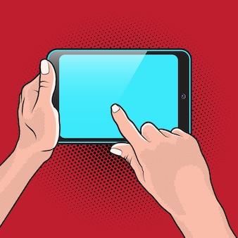 Popart style mokup z tabletem w dłoni