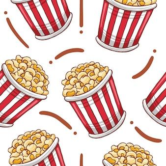 Popcorn fast food seamless pattern w stylu płaskiej konstrukcji